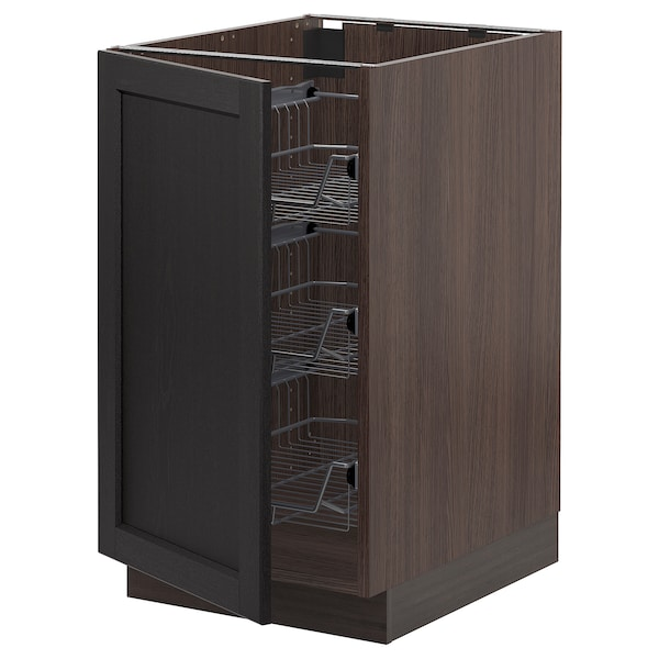 """SEKTION Base cabinet with wire baskets, brown/Lerhyttan black stained, 18x24x30 """""""