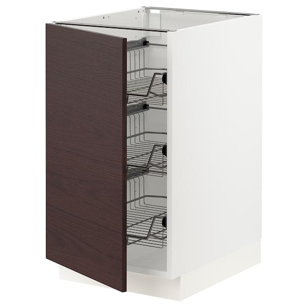 "SEKTION Base cabinet with wire baskets, white Askersund/dark brown ash effect, 18x24x30 """