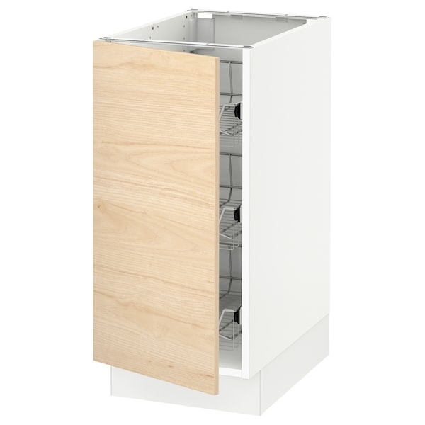 """SEKTION Base cabinet with wire baskets, white/Askersund light ash effect, 15x24x30 """""""