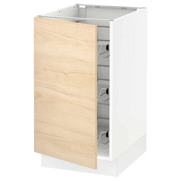 SEKTION Base cabinet with wire baskets, white/Askersund light ash effect, 18x24x30 ""