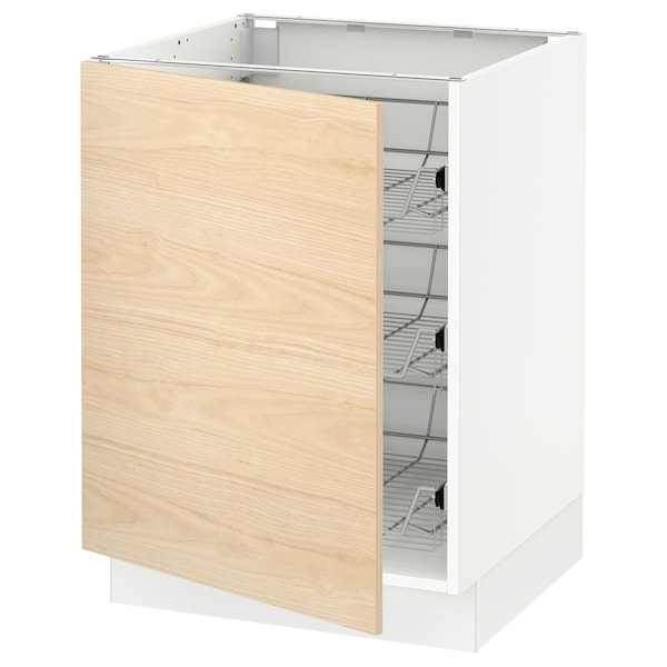 SEKTION Base cabinet with wire baskets, white/Askersund light ash effect, 24x24x30 ""