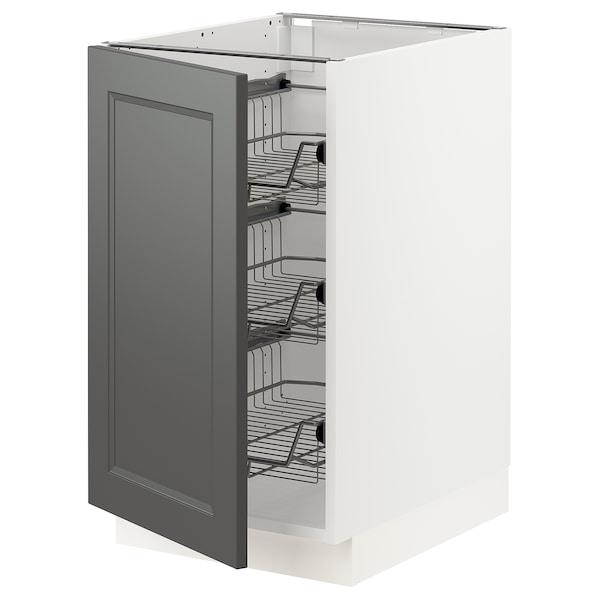 "SEKTION Base cabinet with wire baskets, white/Axstad dark gray, 18x24x30 """