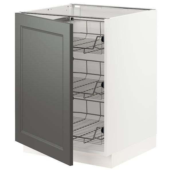 "SEKTION Base cabinet with wire baskets, white/Axstad dark gray, 24x24x30 """
