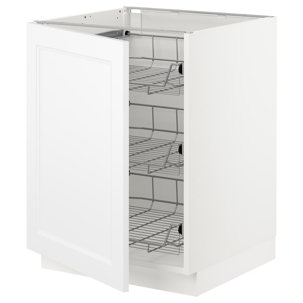 SEKTION Base cabinet with wire baskets, white/Axstad matt white, 24x24x30 ""