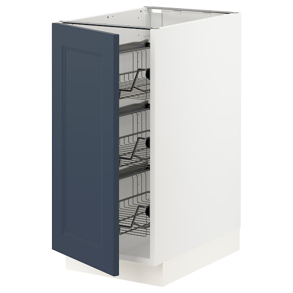 """SEKTION Base cabinet with wire baskets, white Axstad/matte blue, 15x24x30 """""""
