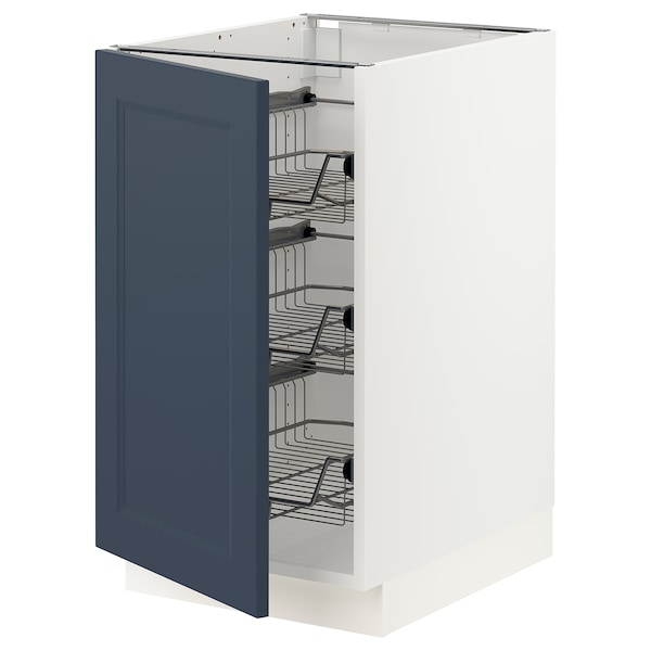"""SEKTION Base cabinet with wire baskets, white Axstad/matte blue, 18x24x30 """""""