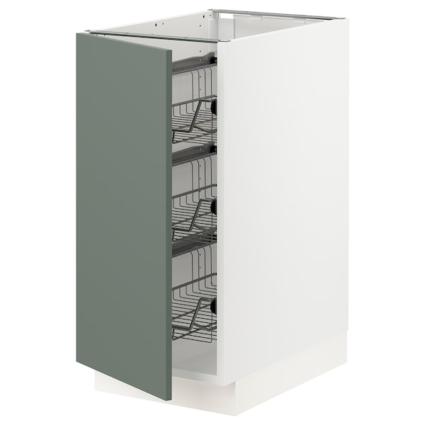 SEKTION Base cabinet with wire baskets, white/Bodarp gray-green, 15x24x30 ""