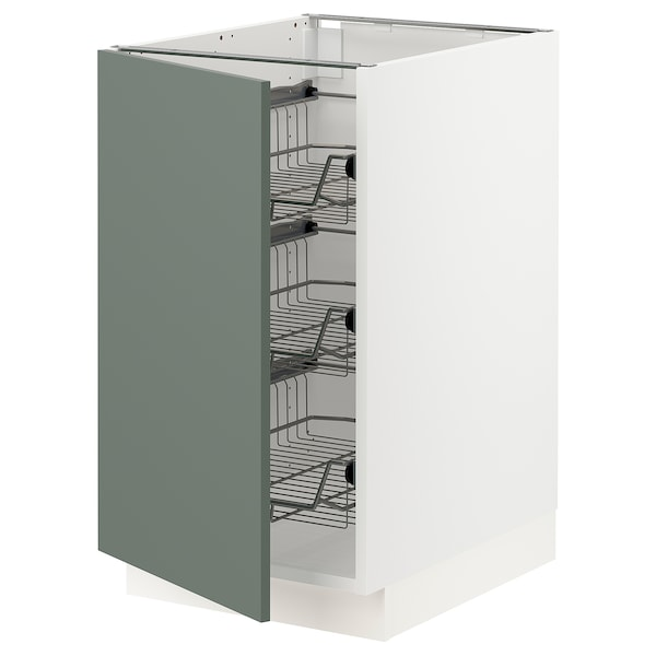SEKTION Base cabinet with wire baskets, white/Bodarp gray-green, 18x24x30 ""