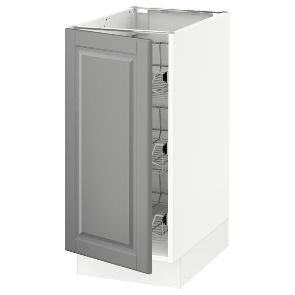 """SEKTION Base cabinet with wire baskets, white/Bodbyn gray, 15x24x30 """""""
