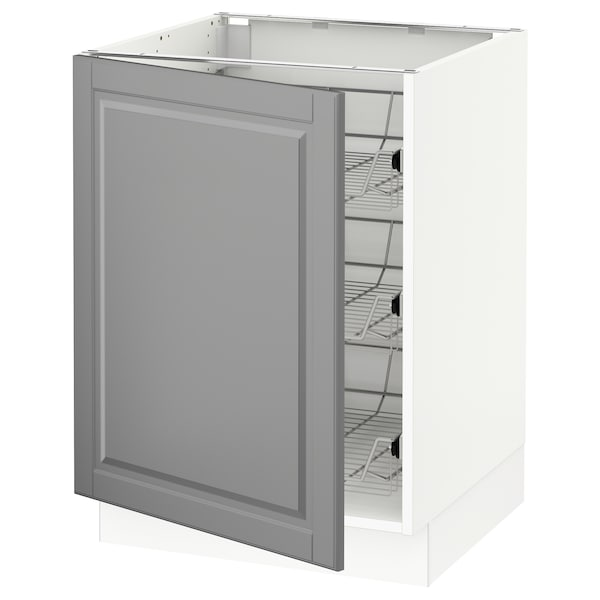 """SEKTION Base cabinet with wire baskets, white/Bodbyn gray, 24x24x30 """""""