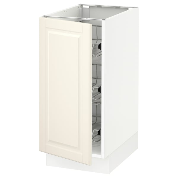 """SEKTION Base cabinet with wire baskets, white/Bodbyn off-white, 15x24x30 """""""