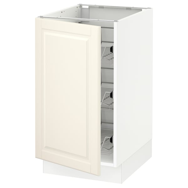 """SEKTION Base cabinet with wire baskets, white/Bodbyn off-white, 18x24x30 """""""