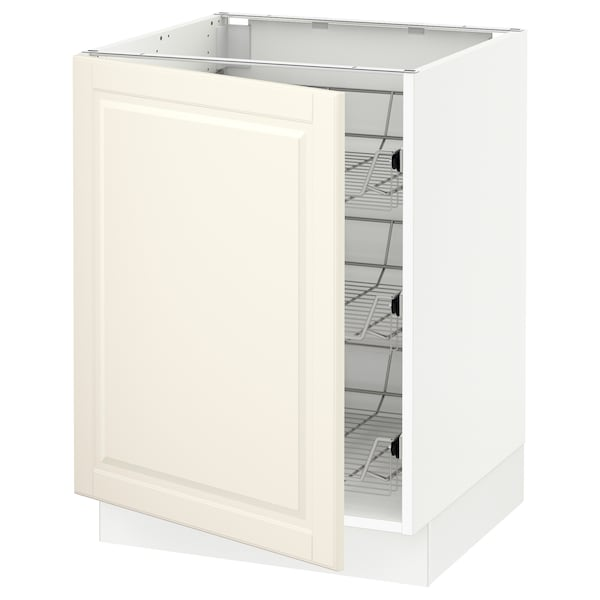 """SEKTION Base cabinet with wire baskets, white/Bodbyn off-white, 24x24x30 """""""