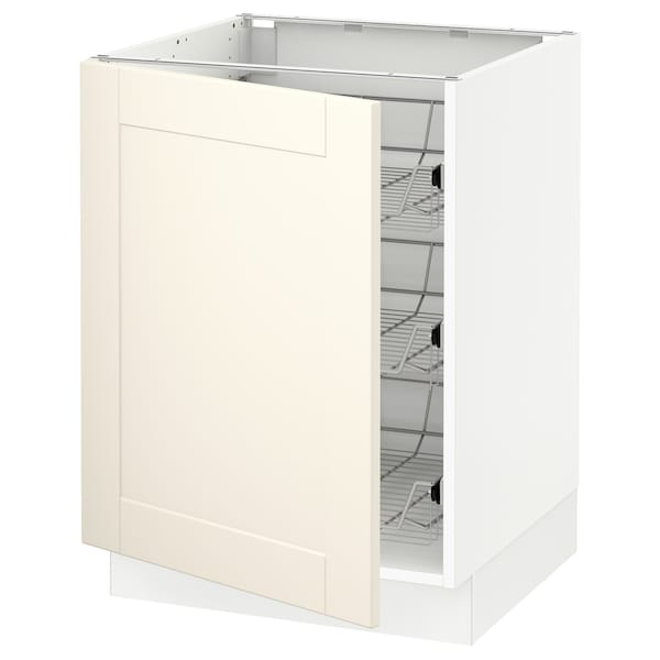 """SEKTION Base cabinet with wire baskets, white/Grimslöv off-white, 24x24x30 """""""