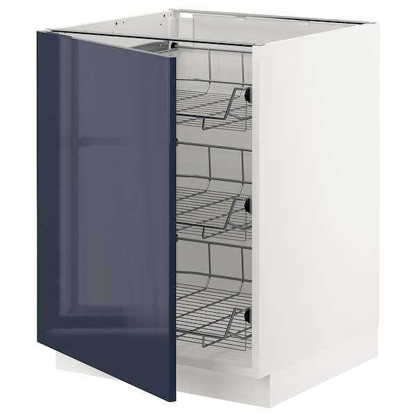 SEKTION Base cabinet with wire baskets, white/Järsta black-blue, 24x24x30 ""
