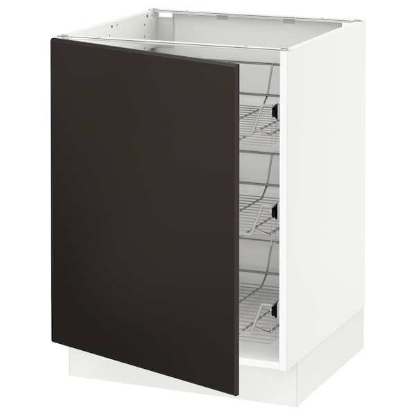 SEKTION Base cabinet with wire baskets, white/Kungsbacka anthracite, 24x24x30 ""
