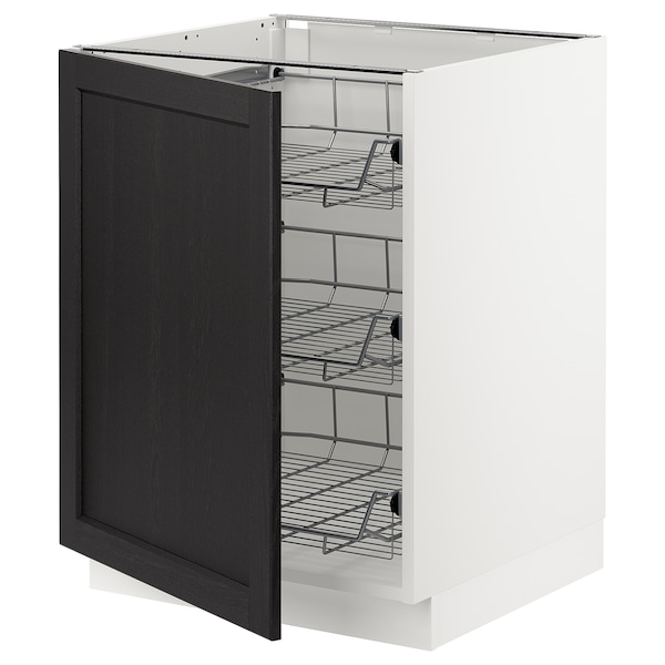 SEKTION Base cabinet with wire baskets, white/Lerhyttan black stained, 24x24x30 ""