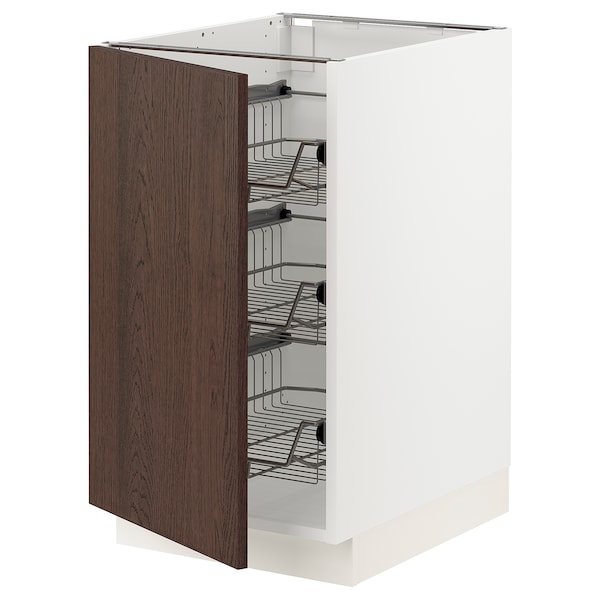 """SEKTION Base cabinet with wire baskets, white/Sinarp brown, 18x24x30 """""""