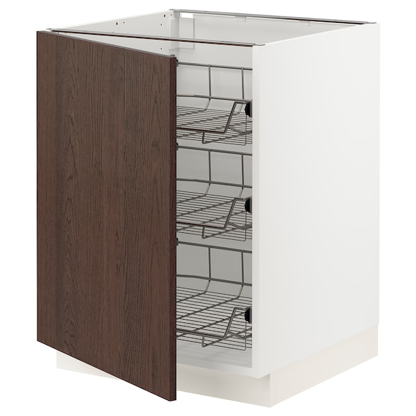 """SEKTION Base cabinet with wire baskets, white/Sinarp brown, 24x24x30 """""""