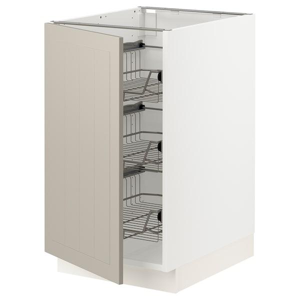"""SEKTION Base cabinet with wire baskets, white/Stensund beige, 18x24x30 """""""
