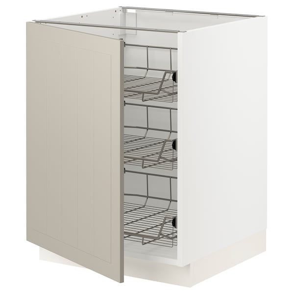 SEKTION Base cabinet with wire baskets, white/Stensund beige, 24x24x30 ""