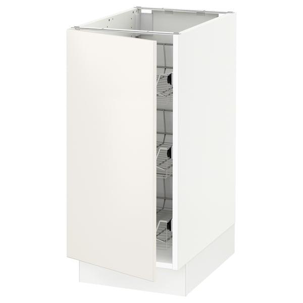"SEKTION Base cabinet with wire baskets, white/Veddinge white, 15x24x30 """