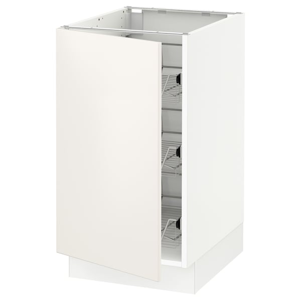 SEKTION Base cabinet with wire baskets, white/Veddinge white, 18x24x30 ""