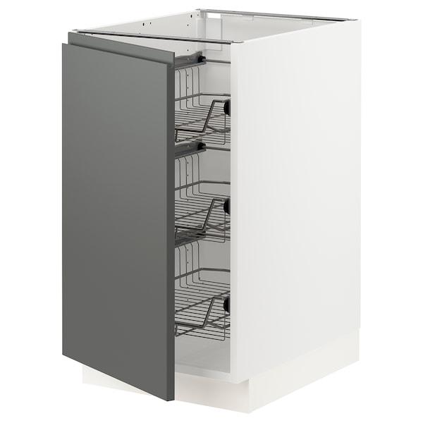 "SEKTION Base cabinet with wire baskets, white/Voxtorp dark gray, 18x24x30 """