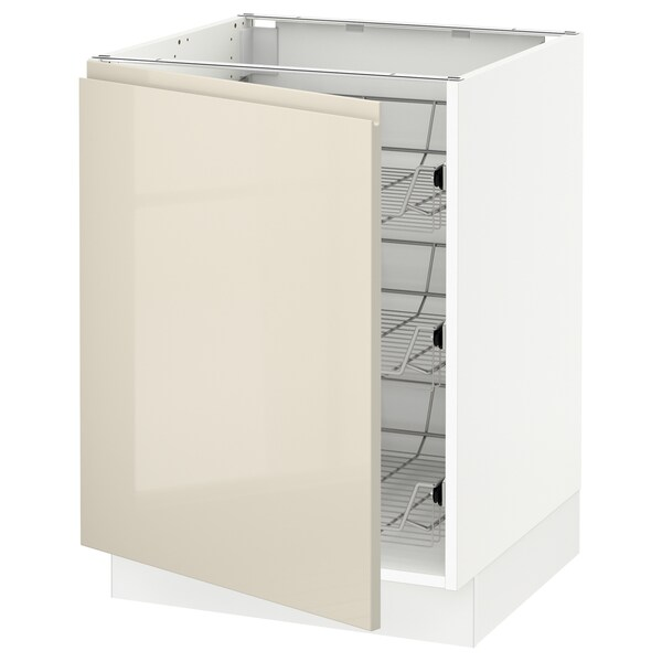 """SEKTION Base cabinet with wire baskets, white/Voxtorp high-gloss light beige, 24x24x30 """""""