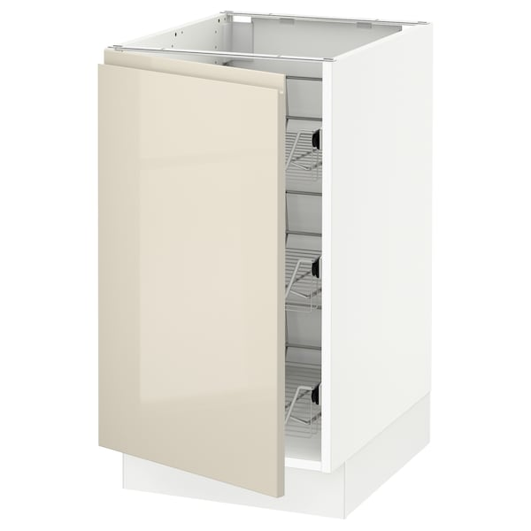 """SEKTION Base cabinet with wire baskets, white/Voxtorp high-gloss light beige, 18x24x30 """""""