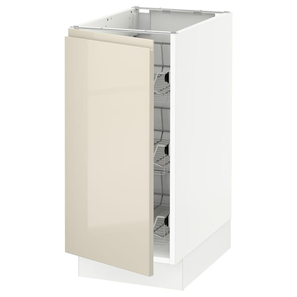 """SEKTION Base cabinet with wire baskets, white/Voxtorp high-gloss light beige, 15x24x30 """""""