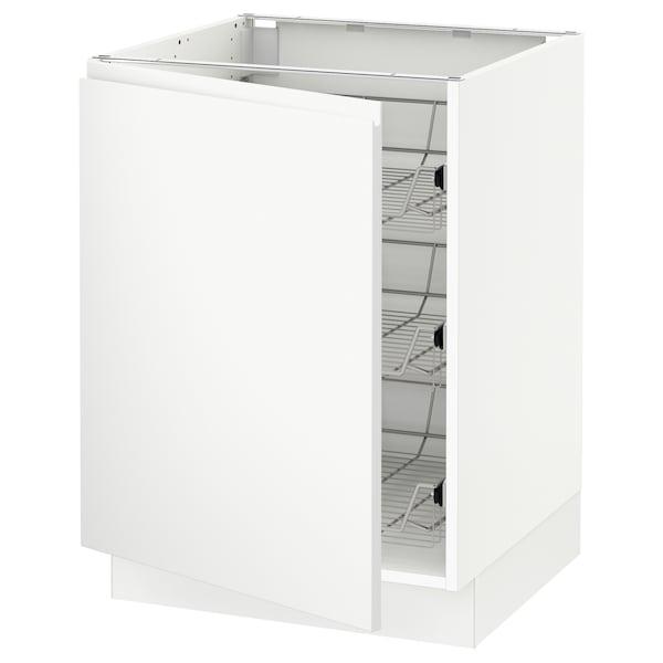 """SEKTION Base cabinet with wire baskets, white/Voxtorp matt white, 24x24x30 """""""
