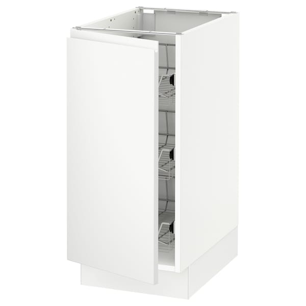 SEKTION Base cabinet with wire baskets, white/Voxtorp matt white, 15x24x30 ""