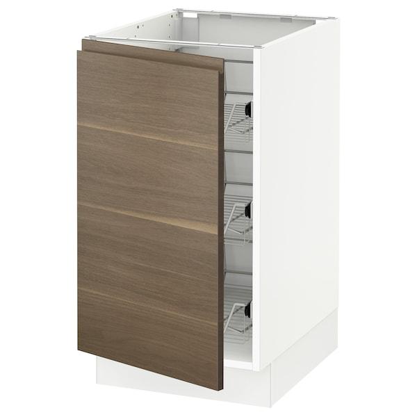 "SEKTION Base cabinet with wire baskets, white/Voxtorp walnut effect, 18x24x30 """