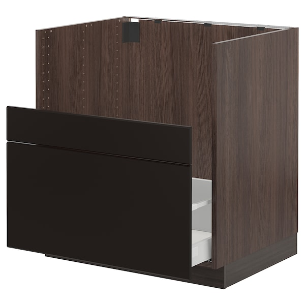 SEKTION Cabinet f/BREDSJÖN sink+2 fronts, brown Maximera/Kungsbacka anthracite, 30x24x30 ""