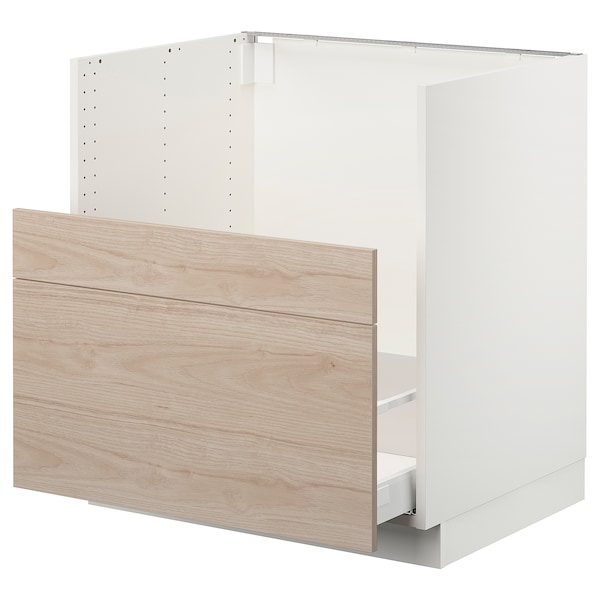 "SEKTION Cabinet f/BREDSJÖN sink+2 fronts, white Maximera/Askersund light ash, 30x24x30 """