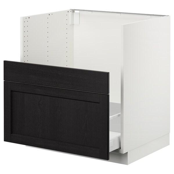"""SEKTION Cabinet f/BREDSJÖN sink+2 fronts, white Maximera/Lerhyttan black stained, 30x24x30 """""""