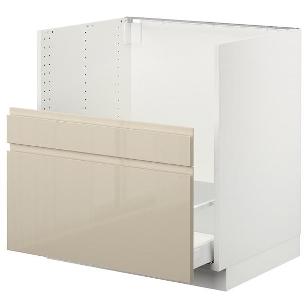 "SEKTION Cabinet f/BREDSJÖN sink+2 fronts, white Maximera/Voxtorp high-gloss light beige, 30x24x30 """