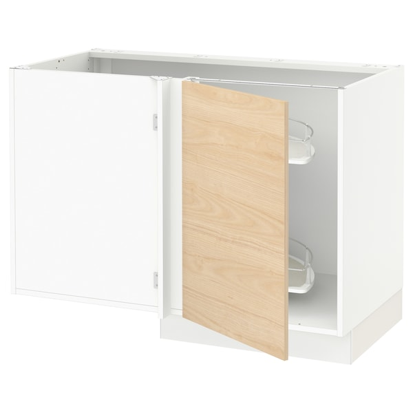 SEKTION Corner base cab w pull-out fitting, white/Askersund light ash effect, 47x24x30 ""