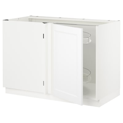 SEKTION Corner base cab w pull-out fitting, white/Axstad matt white, 47x24x30 ""