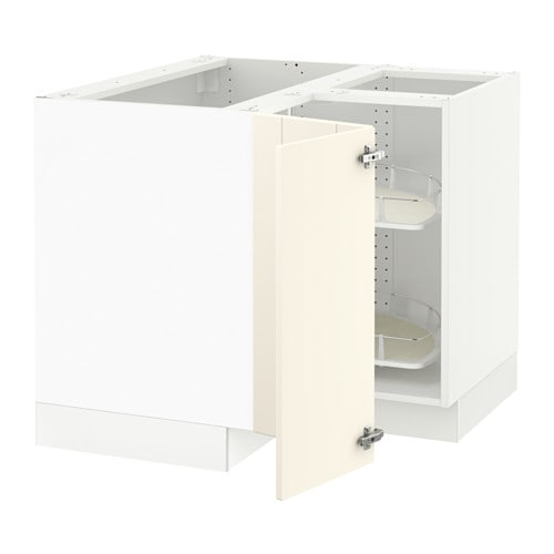 Sektion corner base cabinet with carousel white for Ikea sektion kitchen cabinets