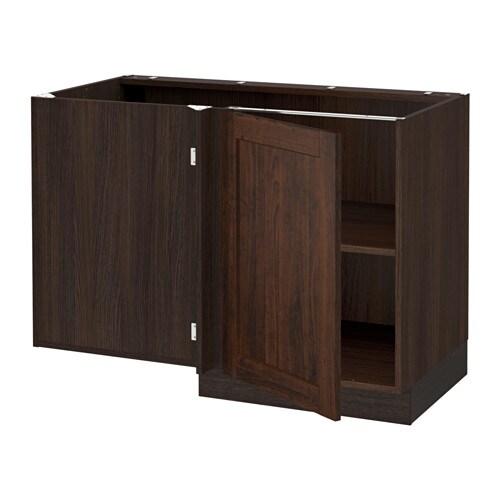 Sektion corner base cabinet with shelf wood effect brown for Wood effect kitchen cupboards