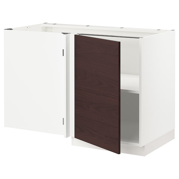"SEKTION Corner base cabinet with shelf, white Askersund/dark brown ash effect, 47x24x30 """