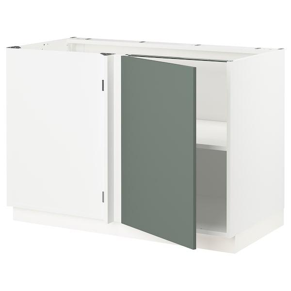 "SEKTION Corner base cabinet with shelf, white/Bodarp gray-green, 47x24x30 """