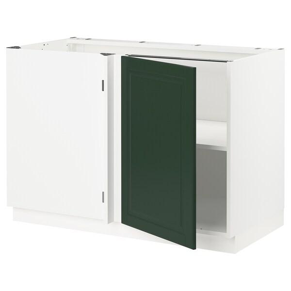 "SEKTION Corner base cabinet with shelf, white/Bodbyn dark green, 47x24x30 """