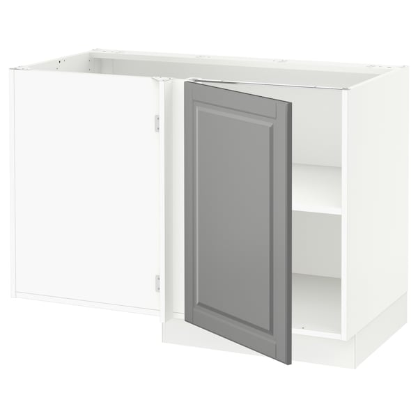 "SEKTION Corner base cabinet with shelf, white/Bodbyn gray, 47x24x30 """