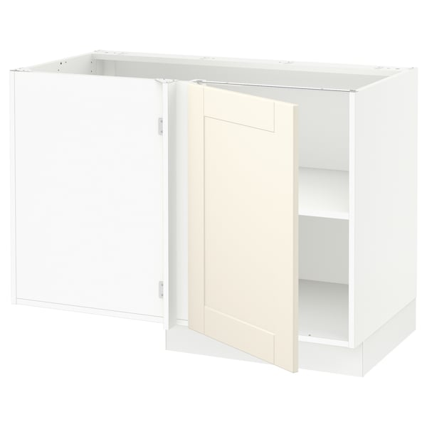 SEKTION Corner base cabinet with shelf, white/Grimslöv off-white, 47x24x30 ""