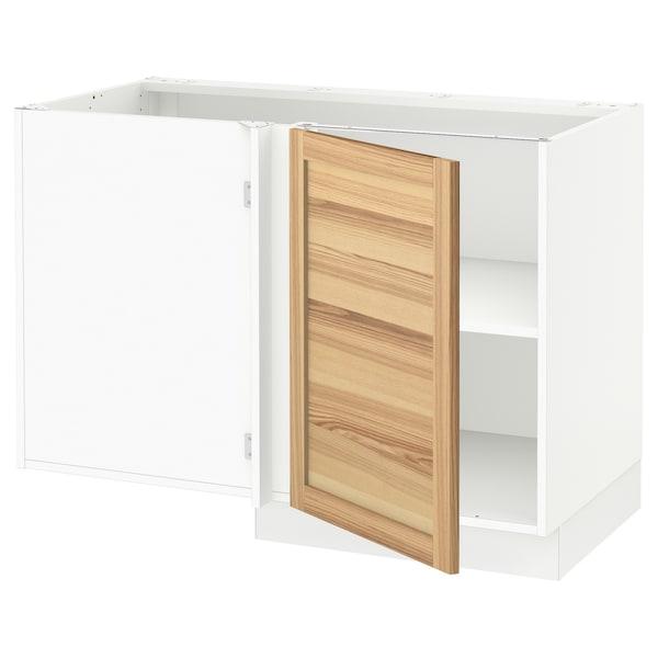 "SEKTION Corner base cabinet with shelf, white/Torhamn ash, 47x24x30 """