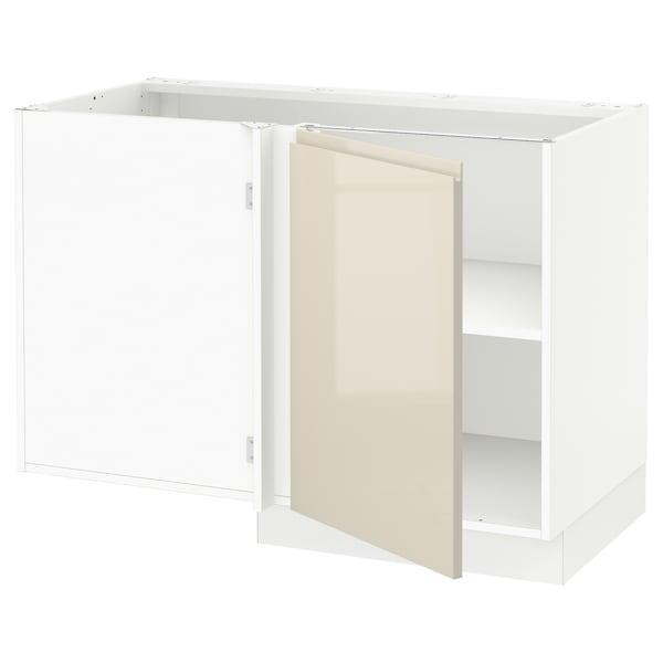 "SEKTION Corner base cabinet with shelf, white/Voxtorp high-gloss light beige, 47x24x30 """