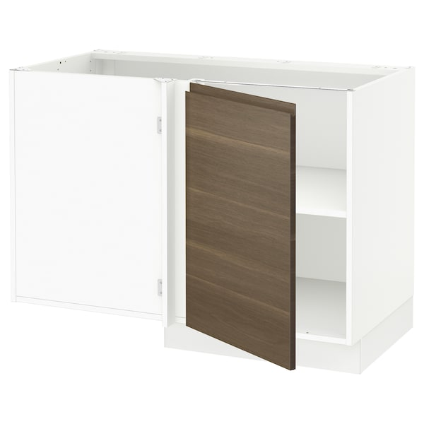 SEKTION Corner base cabinet with shelf, white/Voxtorp walnut effect, 47x24x30 ""